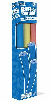 "Splash Down Big Kahuna Pool Noodle, 4"" Round, Red, Yellow, Blue & Green, 6 Pack"