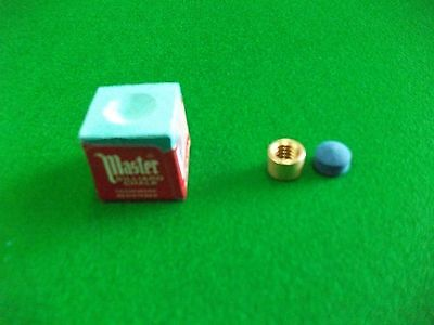 9mm Snooker/Pool cue Brass Ferrule with Elkmaster Tip and Masters Chalk