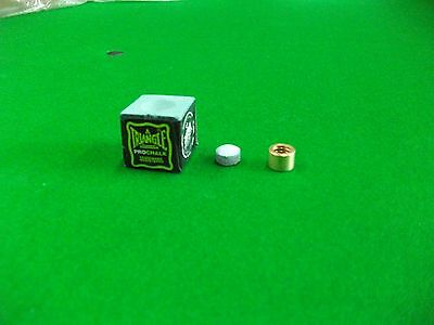 9.5mm Snooker/Pool cue Brass Ferrule with Elk-Pro Tip and Triangle Pro Chalk