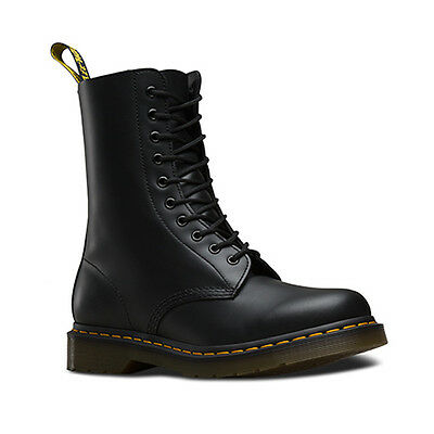 Dr Martens Leather Designer Stylish 10 Eyelet Casual Boots Black Smooth 1490