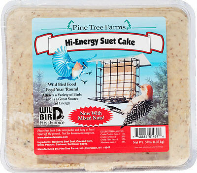 Pine Tree Farms Hi-Energy Suet Cake 3 Pounds 1431 Made in USA