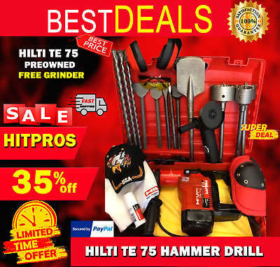 Hilti Te 75 Hammer Drill, Preowned, Free Grinder, A Lot Of Extra, Fast Ship