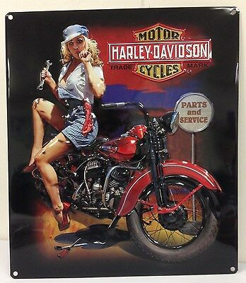 Ande Rooney HARLEY DAVIDSON FIXER UP BABE Pin Up Girl Tin Motorcycle Sign New