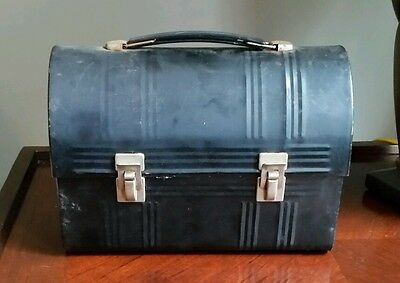 Vintage Black Metal Aladdin Industries, Inc. Workers Lunch Box W/o Thermos