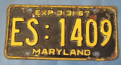 1967 Maryland License Plate