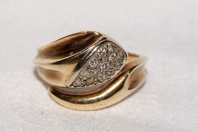 Vintage 14 Karat / 585er Gold Damen - Ring mit Brillanten