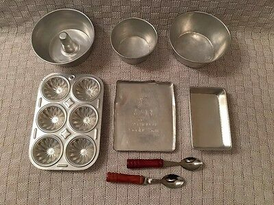 """VTG LOT TOY ALUMINUM BAKEWARE COOKWARE 18"""" Dolls Pan,Bowl,Spoon,Cake Silver"""