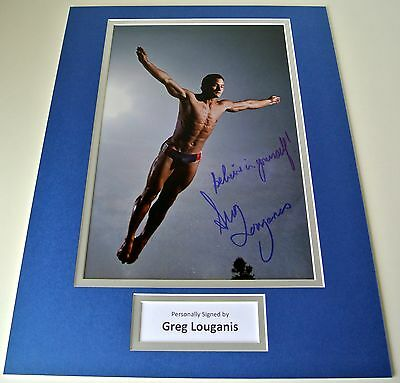 Greg Louganis Signed Autograph 16x12 photo mount display Olympic Diving & COA