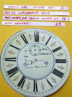 Buyers Ref:R,  Replacement laminate Ivory  Vienna Regulator Clock Dial option 16