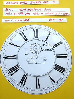 Buyers Ref: B,  Replacement laminate White  Vienna Regulator Clock Dial option 2 • £7.99