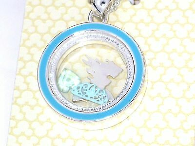 Disney Authentic Charm Keeper Necklace✿Floating Memory Locket Crown Castle Shoe
