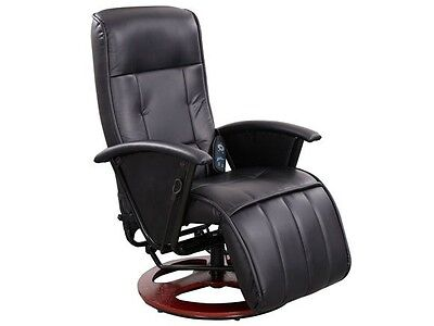Reclining Massage Arm Chair Gaming Cinema Faux Leather Swivel Heated Recliner