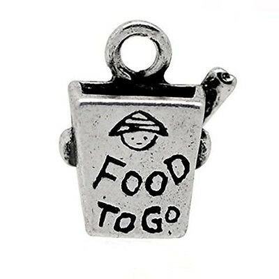 Food to Go Chinese Take Out Silver  Charm Pendant