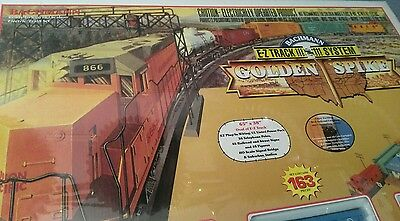 Vintage Bachmann HO 163 pc's Golden Spike E-Z track train set in sealed package