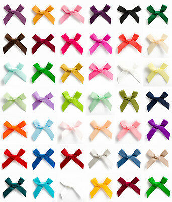 10 Pk Bow Satin 3cm Wide Ribbon Pre-Tied Bows Craft Scrapbooking Various Colours