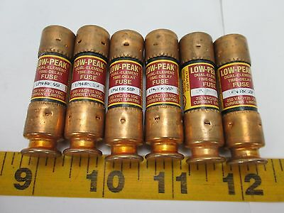 Lot of 6 Bussmann LOW-PEAK Duel Element Time Delay Fuses LPN-RK 5SP SKU H CS