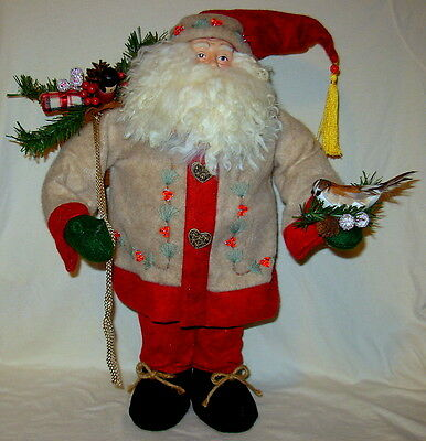 "Vintage Santa Figure with Bird and Santa Sack ~ Approx 20"" Tall"