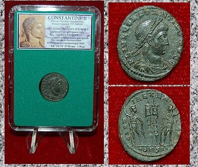 Ancient Roman Empire Coin Of CONSTANTINE II Two Soldiers and Two Standards