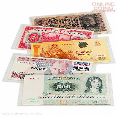 Lighthouse Basic Bank Note Sleeves 178mm x 94mm - ARCHIVAL SAFE - 50 Pack