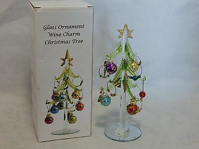 Blown Glass Ornament Wine Charm Christmas Tree