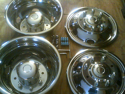 """NEW 19.5"""" 1999-2004 FORD F450 / F550 Dually Stainless Steel Wheel Covers 8 lug"""
