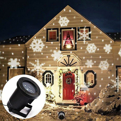 New Snowflake Moving Sparkling LED Landscape Laser Projector Xmas Holiday Light