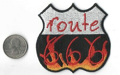 "ROUTE 666 IN FLAMES  IRON-ON / SEW-ON EMBROIDERED PATCH 3 ""x 2 1/4"""