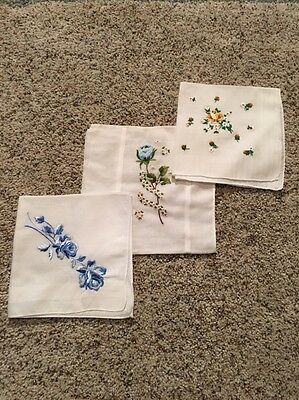 Lot Of 3 Vintage Floral Handkerchiefs Embroidered