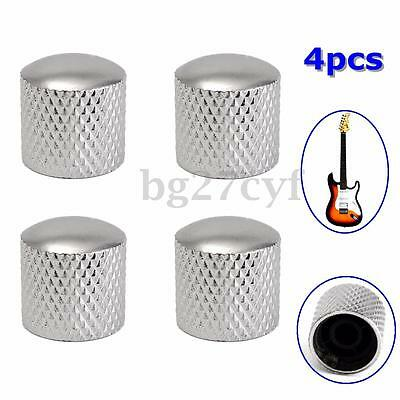 4 Pcs Electric Guitar Bass Tunning Metal Dome Tone Knob Knobs for Tele Silver