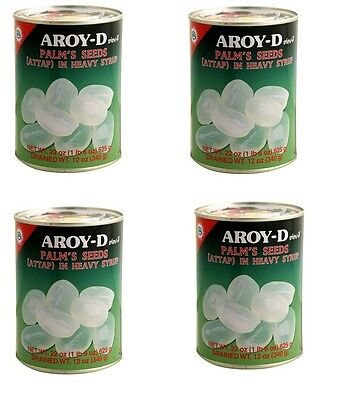 4x Aroy-D Palm Seed Atap In Syrup 625g Dessert Fruit Tropical