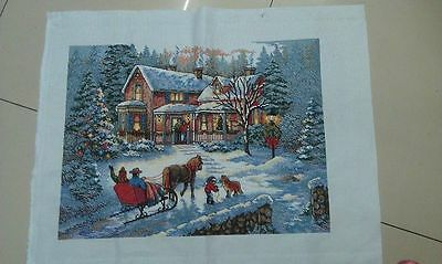 "completed finished cross stitch Merry Christmas "" FREE SHIPPING"""
