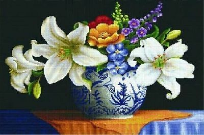 cross stitch Lily vase beautiful finished completed   gift
