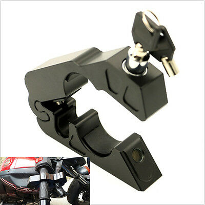 Black Motorcycle Handlebar Grip Brake Lever Lock Anit Theft Security Caps-Lock