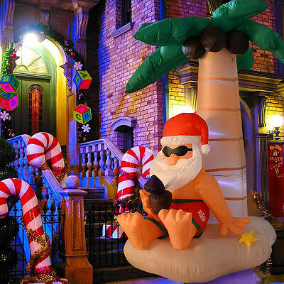 1.8m Giant Inflatable Christmas Decoration Santa in Palm Beach With Light