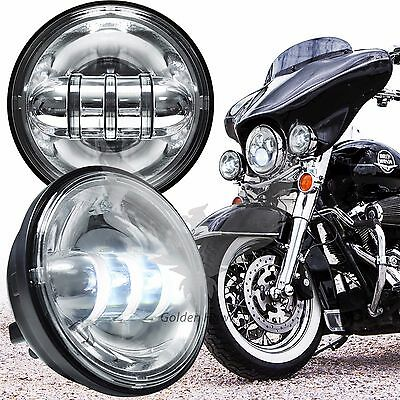 """2 x 4.5"""" Chrome Motorcycle LED Auxiliary Spot Fog Passing Lights Lamp For Harley"""