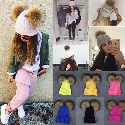 Women Kids Winter Beanie Hat Warm Knitted with Small Crystals Large Fur Pom