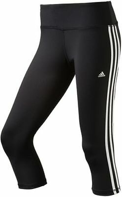 ADIDAS Damen Trainingshose Tight Basic 3/4, Schwarz/Weiß