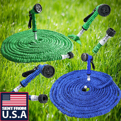 US 25 50 75 100 200 Feet Expandable Flexible Garden Water Hose Pipe+Spray Nozzle