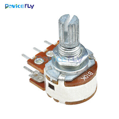 2PCS B10K Dual Stereo 6Pin Potentiometer Pots with Shaft 15mm