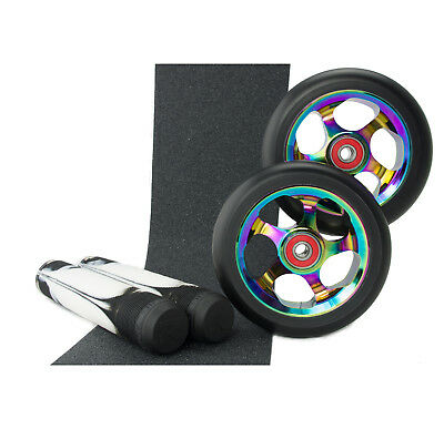 Metal Core 110mm NeoChrome Scooter Wheels + Root Black/White Grips + Tape