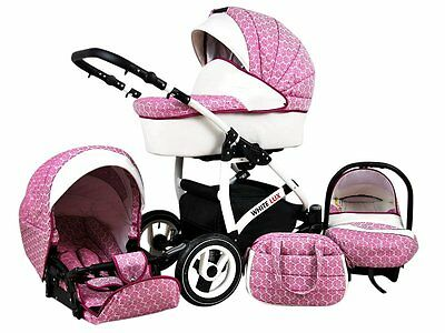 Kinderwagen whitelux, 3 in 1- Set Wanne Buggy Babyschale rosa/dark pink