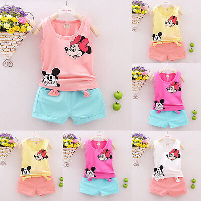 Toddler Kids Baby Girls Outfits Clothes T-shirt Tops Dress+Short Pants 2PCS Sets