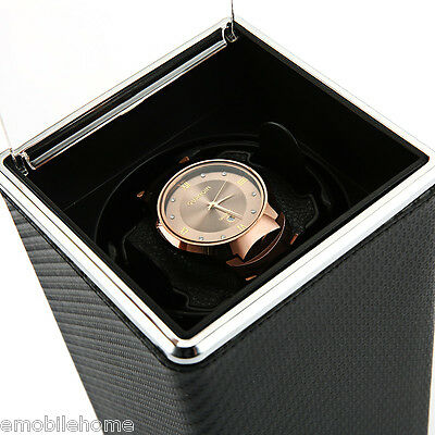 Deluxe Watch Winder Box Transparent Cover Storage Organizer Automatic Rotation