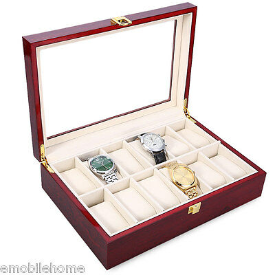12 Slots Wood Watch Display Case Watches Box Glass Top Jewelry Storage Organizer