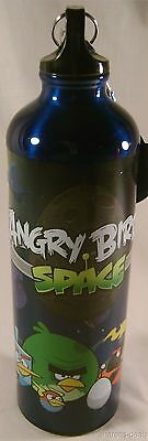Angry Birds Space 28 Oz Aluminum Water Bottle Blue Carabiner Backpack Loop 10""