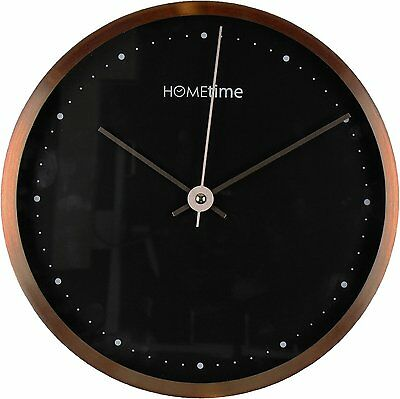 Circular Black & Copper 'Russet' Contemporary Wall Clock (25cm)