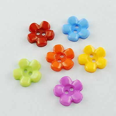 lot 20 boutons fleurs 15 mm multicolore couture mercerie scrapbooking neuf