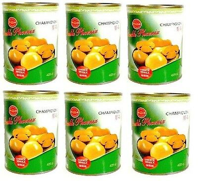 6x Double Phoenix Whole Champignons 400g Button Mushroom Jamur Noodle