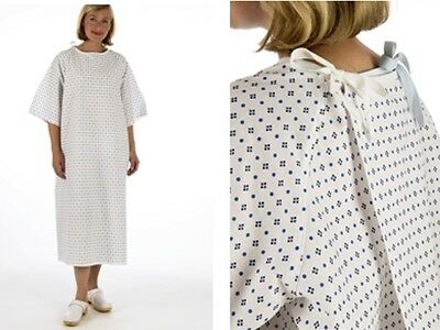 NHS Wrap over White Hospital PATIENT GOWN Waist & Neck Tied Unisex Night Dress