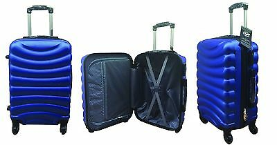 Hard Shell Blue 4 Wheel Spinner Suitcase ABS Luggage Cabin Case Carry On